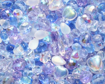 50g Lavender Blue Czech Glass Bead Mix, mixed beads, bead mix, glass beads, Czech glass, UK seller, blue glass beads, mixed beads