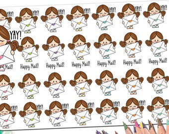 Happy Mail Stickers | Envelope Stickers | Letter Stickers | Kawaii Planner Stickers | Pen Pal Stickers | Girl Stickers Heart Fits ECLP More