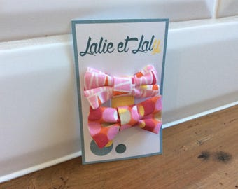Two hair clips butterfly knot cotton patterned pink tone