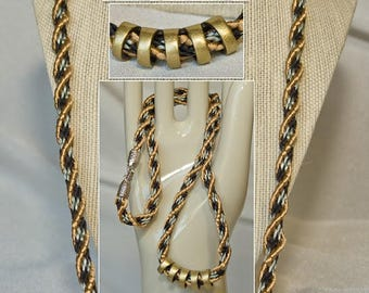 Kumihimo Braided 27 inch Necklace with a Gold Spiral that Wraps Around Black and Silver Square / Checkered Pattern, Handmade