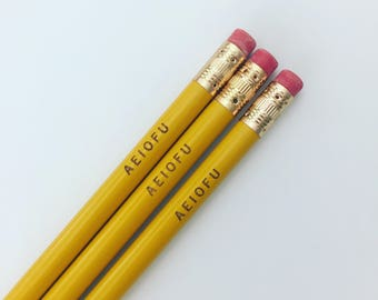 buy a vowel AEIOFU engraved pencils in classic yellow. Let them know how you feel, without saying anything. multiple quantities available