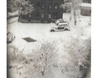 """Vintage Snapshot """"Blizzard Conditions"""" Quiet Winter Landscape Snow-Covered House Cars Abstract Soft Focus Found Vernacular Photo"""