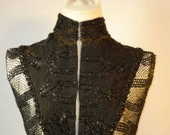 New reduction in price! Rare incredible 1880s Victorian pelerine of heavy blk bead work w netted beading. Good condition for gentle display.