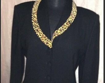 FINAL REDUCTION*** Oleg Cassini 100% wool black blazer with leopard print details size 6