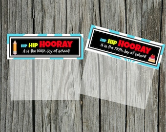 INSTANT Download Hip Hip HOORAY 100th Day blue of School Goodie Treat Bag Topper  PRINTABLE Download - Fun Family Party diy