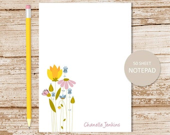 personalized notepad . floral notepad meadow flowers note pad . personalized stationery . wildflower notepad . womens stationary
