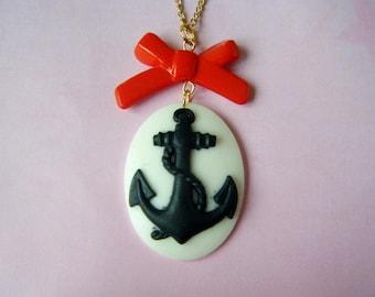 Pendant ♥ cameo anchor Navy ♥