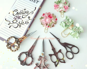 PRE-ORDER : Flourishes Vintage Antique Embroidery Crafting Gold / Bronze Scissors. Planner Desk accessories. Sewing Tool.
