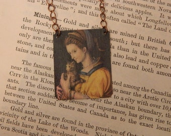 Cat jewelry Bacchiacca necklace wearable art cat necklace