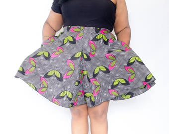 "African Print Plus Size Culottes Split Skirt 27"" L"