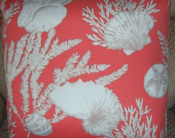 "Pillow Cover Peach  Coral Shells 18"" tropical indoor outdoor ocean sea coastal Sand Dollar"