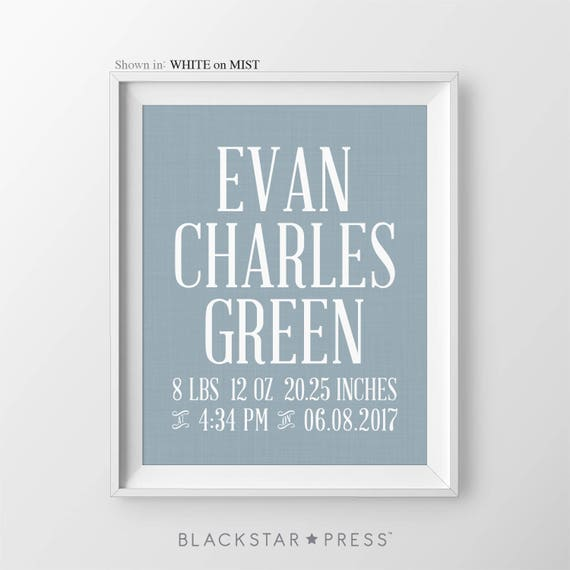 Baby boy birth stats nursery decor print boy personalized name negle Images