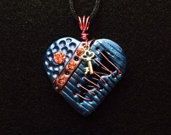 Handmade pendant necklace, unique jewelry, mended heart, polymer clay, steampunk