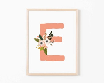 Coral Bloom E Nursery Art. Nursery Wall Art. Nursery Prints. Nursery Decor. Girl Wall Art. Personalized Wall Art. Monogram Art. Floral Art.