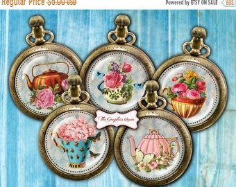 80% Off Spring Sale Shabby Chic Tea Time Party Digital Collage Sheets Instant Download 2.5 inch Round Cabochon Images Digital Cupcake Topper