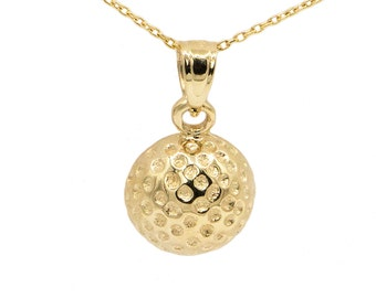 10k Yellow Gold Golf Ball Necklace
