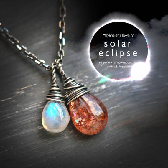 Solar Eclipse 2017 - Moonstone and Sunstone Wire Wrapped Sterling Silver Necklace