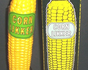 """1968 figural """"Corn Likker"""" flask, with stand, in original box"""