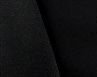 Black Twill Soft Shell Fleece, Fabric By The Yard