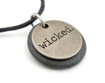 Wicked Necklace, Expression Word Jewelry, Polymer Clay Word Pendant