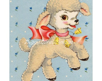Animals 10 a Sweet Lamb a Digital Image from Vintage Greeting Cards - Instant Download