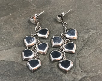 Vintage Sterling silver handmade earrings, 925 silver studs with heart cluster drops with cable around, Stamped 925
