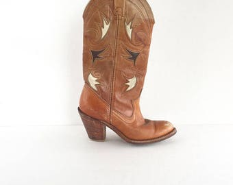 80's Acme Dingo Tall Caramel Leather Inlay Flower Cowboy Boots Size 5, Vintage Acme Dingo Cowgirl Boots Size 5