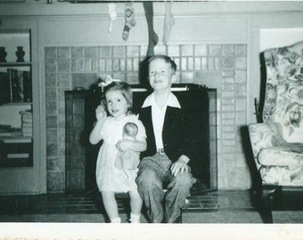 1950s Christmas Brother Sister Doll Fireplace Stockings Girl Boy 50s Vintage Photograph Black White Photo