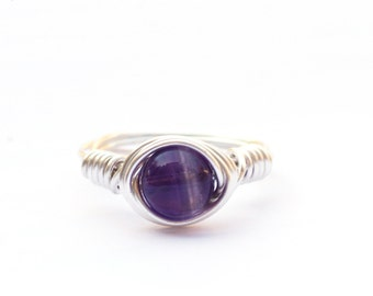 Amethyst Ring, Wire Wrapped Amethyst Ring, Sterling Silver Ring, Gold Fill Ring, Anxiety Ring, Wrapped Gemstone Ring, Februrary Ring