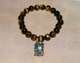 "Lucky Cat (Maneki Neko) Tiger Eye ""Wisdom"" Bracelet"