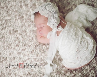 LACE BABY BONNET, vintage lace, off white, newborn, stretch lace, handmade, newborn baby photo prop,  photography prop, baby