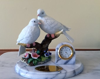 Dove Desk Clock Crystal Cathedral Ministries John 14:27 My Peace I Give to You Marble Base Quartz Clock Robert Schuller Commemorative Clock