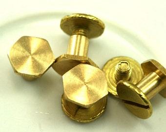 "10 pcs 8 x 6.5 mm raw brass studs, screw rivets, chicago screw / concho screw, unusual steampunk finding, 1/8"" bolt CSC5"