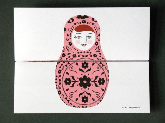 Matryoshka Party Invitation Printable File, Russian Babushka Dolls Nesting Stacking Dolls