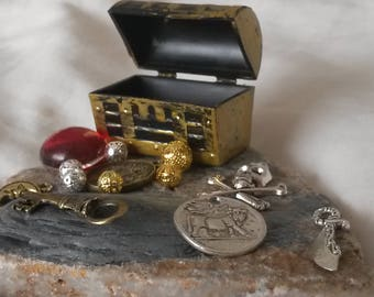 Miniature Pirate Treasure Chest filled with Secret Treasure. Party Favour, Gift