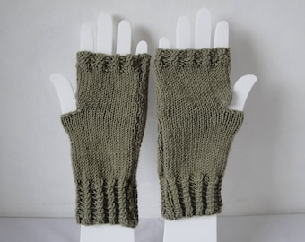 wool fingerless gloves, khaki texting mitts, green hand-warmers, woman knitted mitts, holiday gift, lichen green mitts, pure wool armwarmer