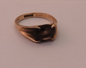 Vintage hallmarked W&G 375 solid gold with large jem set  ring ,D 17 mm