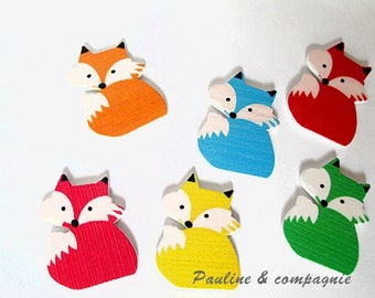 Set of 6 wooden Fox embellishment