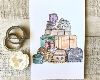 Vintage Luggage Watercolor 5x7 Wall Art