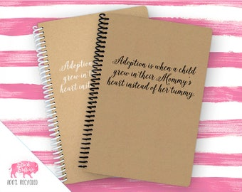 Spiral Notebook | Spiral Journal Planner | Journal | 100% Recycled | Adoption | BB036