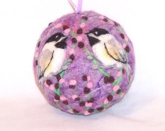 Needle Felted Christmas Ornaments Chickadee Birds - Lavender - Bird Ornaments - Bird on Berry Bush - Felt Christmas Ornament - Gift Item