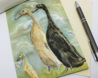 Ducks with Baby Greeting Card - Blank Card - Print of Origianl Hand Drawn Pastel Drawing by CottageRts