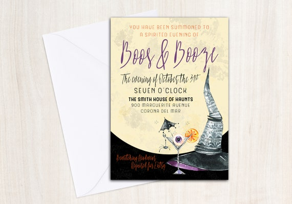 Boos & Booze Invitation - Witches Night Out Invite - Printable Party Supplies