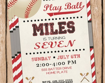 Baseball Invitation Baseball Party Baseball Invite