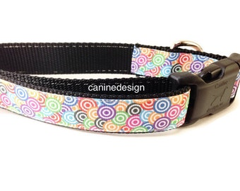 Dog Collar, Swirls, Colorful, Rainbow, 1 inch wide, adjustable, quick release, martingale, chain, metal buckle, hybrid