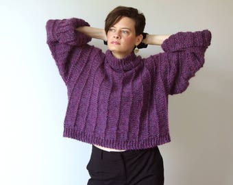Chunky alpaca sweater, cropped sweater, loose sweater, violet alpaca shrug, turtleneck pullover, wild berries jumper, hand knit sweater
