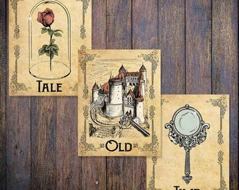 Tale as Old as Time - Set of 3 Prints - Beauty and the Beast - Vintage Style Disney Posters - 5x7, 8x10, 11x14, 16x20, 18x24, 20x24, 24x36
