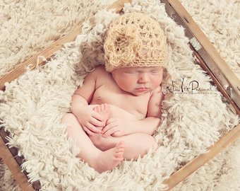 Crochet PATTERN - Lacy Baby Beanie and Flower - Crochet Hat Pattern - Includes 4 Sizes Newborn to Adult - PDF 111