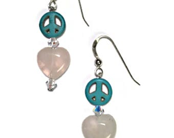 "Earrings ""Peace and Love in my soul"" Genuine : 925 Sterling Silver,Turquoise, Rose Quartz and  Swarovski Elements, By ANena Jewelry"
