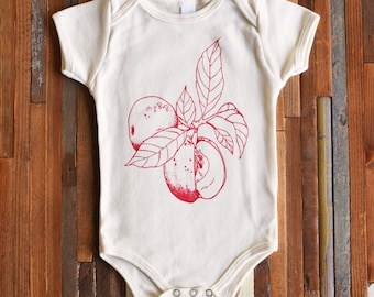 Organic Baby Clothes - Screen Print - Hipster Baby Outfit - Apple - Bodysuit - One Piece - Romper - Toddler Clothes - Shirt - Organic Cotton